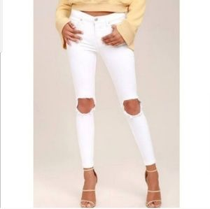 Free People Busted Knee White Jean's Sz 30